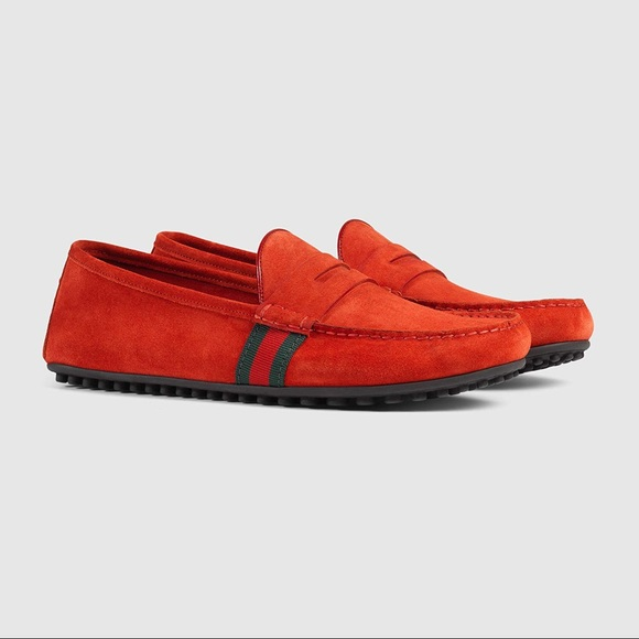 6de645433 Gucci Shoes | Red Suade Drivers With Web Sz 8gus85 | Poshmark